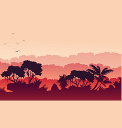 Beauty scenery of jungle with forest silhouette vector