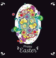 black easter greeting card with floral decoration vector image