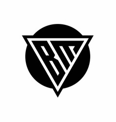 Bm logo with negative space triangle and circle vector