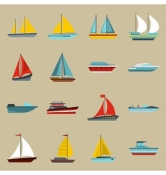 Boat and ship icons set flat style vector