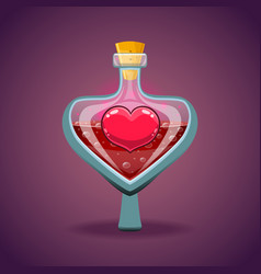 bottle with heart magic elixir vector image