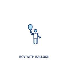 Boy with balloon concept 2 colored icon simple vector