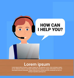 call center headset agent woman bubble client vector image