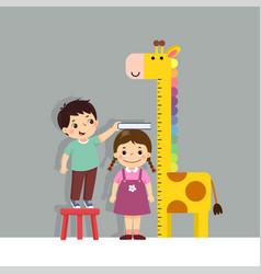 Cartoon boy measuring height little girl vector