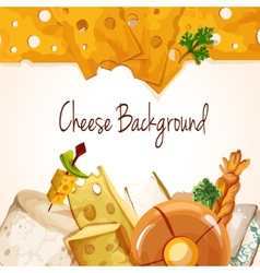 Cheese assortment background vector