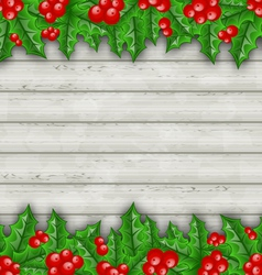Christmas decoration holly berry branches on vector image