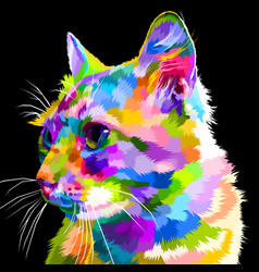 colorful cats face looks sideways with a black vector image