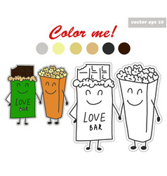 Coloring book stickers of chocolate and pop corn vector