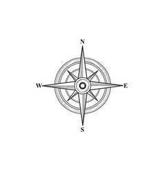 compass sign wind rose hand sketch symbol vector image