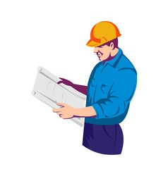 Construction worker engineer with building plan vector