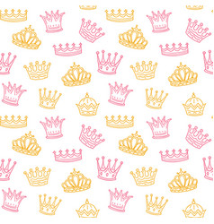 Crown seamless pattern golden and pink crowns for vector