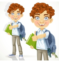 Cute curly-haired boy with books and school vector image