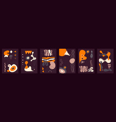 dark abstract cards with orange elements hand vector image