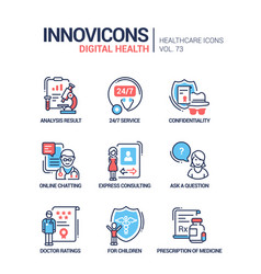 Digital health line design style icons set vector