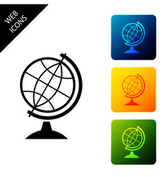 earth globe icon isolated on white background set vector image
