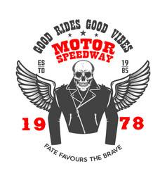 emblem template with winged racer skeleton design vector image