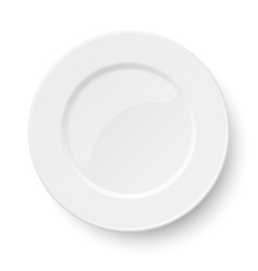 Empty classic white plate isolated on white vector