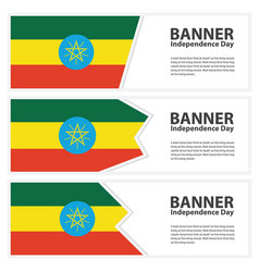 ethiopia flag banners collection independence day vector image
