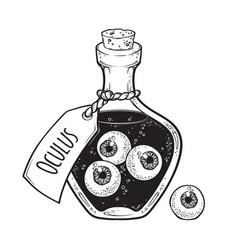 Eyeballs in glass bottle isolated sticker patch vector