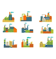 Factories and plants set vector