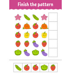 Finish pattern cut and play fruits and vector