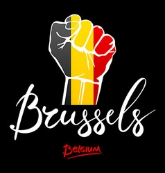 Fist of Belgium flag painted multi purpose concept vector