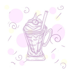 Fresh ice-cream with the cherry in the glass vase vector