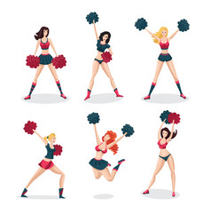 girl cheerleaders isolated on white set people vector image