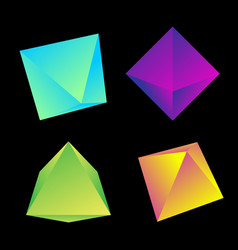 glossy platonic solids set vector image