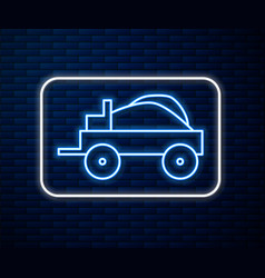 glowing neon line wild west covered wagon icon vector image