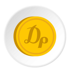 Gold coin with drachma sign icon circle vector
