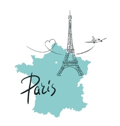 Hand drawn with Eiffel tower Paris vector