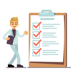 happy man at giant schedule checklist with tick vector image