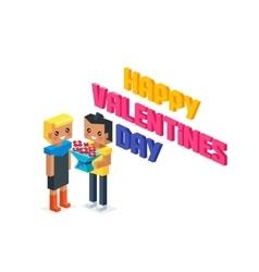 Happy Valentine Day Couple 3d Isometric vector