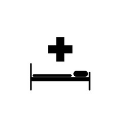hospital bed and the cross icon vector image