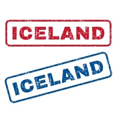 Iceland rubber stamps vector