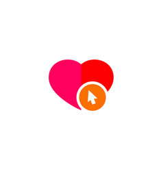 icon of a heart being pierced by a computer cursor vector image