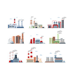 industrial complex factory buildings color icons vector image