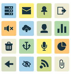 interface icons set with trash can pin mute and vector image