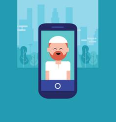 Islam face people character man on phone arabic vector