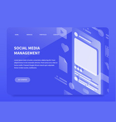 isometic smm landing page vector image