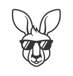 Kangaroo head in sunglasses icon logo on white vector
