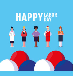 Labor day label with women professionals vector