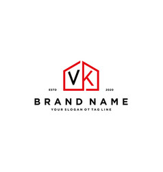 Letter vk home logo design concept vector