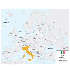 location italy on european continent with flag vector image