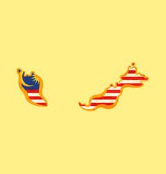 Malaysia - map colored with malaysian flag vector