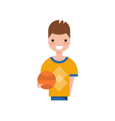 male basketball player character smiling guy in vector image