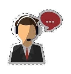 man headphone bubble icon vector image