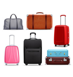 Modern retro travel luggage realistic set vector