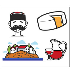 montenegro symbols travel to europe food and drink vector image